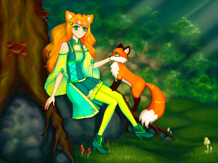 Karri and her friend - fox :3