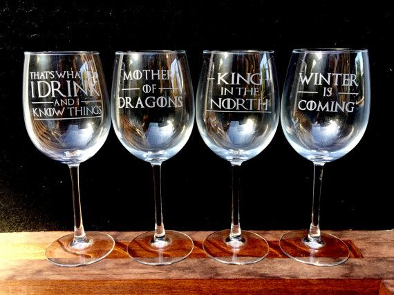 Game of Thrones Wine Glasses Etched Quotes - Set of 4 - I Drink and I Know things, King in the North, Winter is Coming, Mother of Dragons