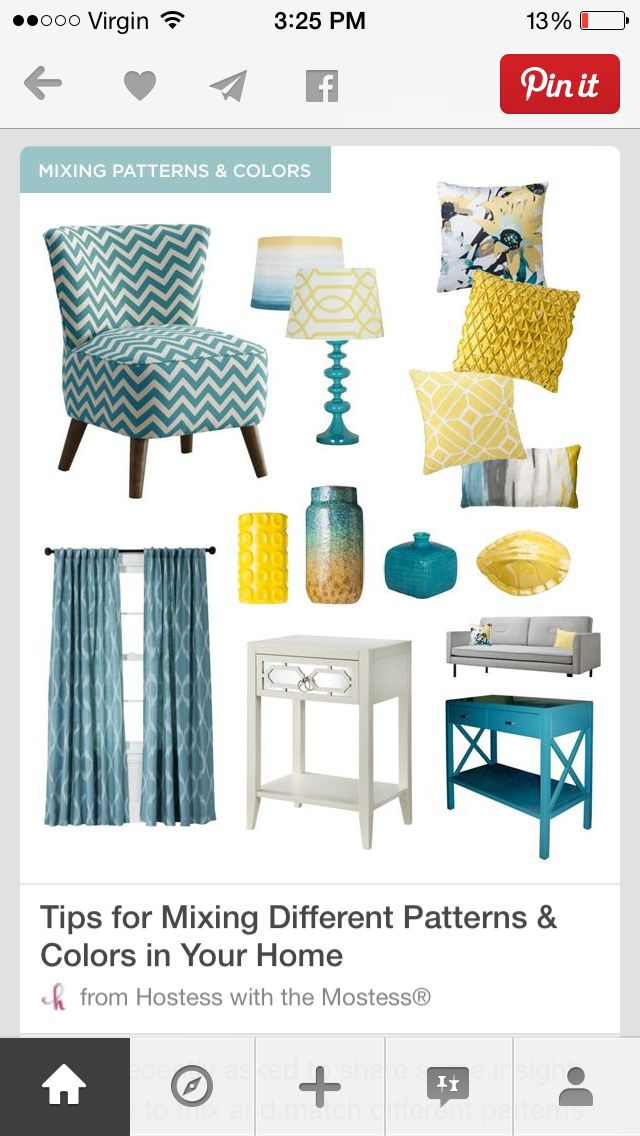 Cool teal blue with a mix of warm honey yellow and hint of grey! Absolutely love it for the living room area.