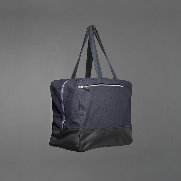 Hannah Weekend Bag - denim & recycled leather http://ervinlatimer.com/product/hannah-weekend-bag