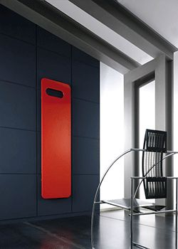 bathroom decorating with red accent, wall mounted electric heater