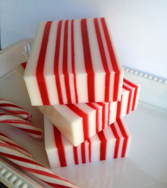 Candy Cane Soap - Christmas Soap - Holiday Soap - Christmas Gift Soap - Stocking Stuffer - Peppermint Soap