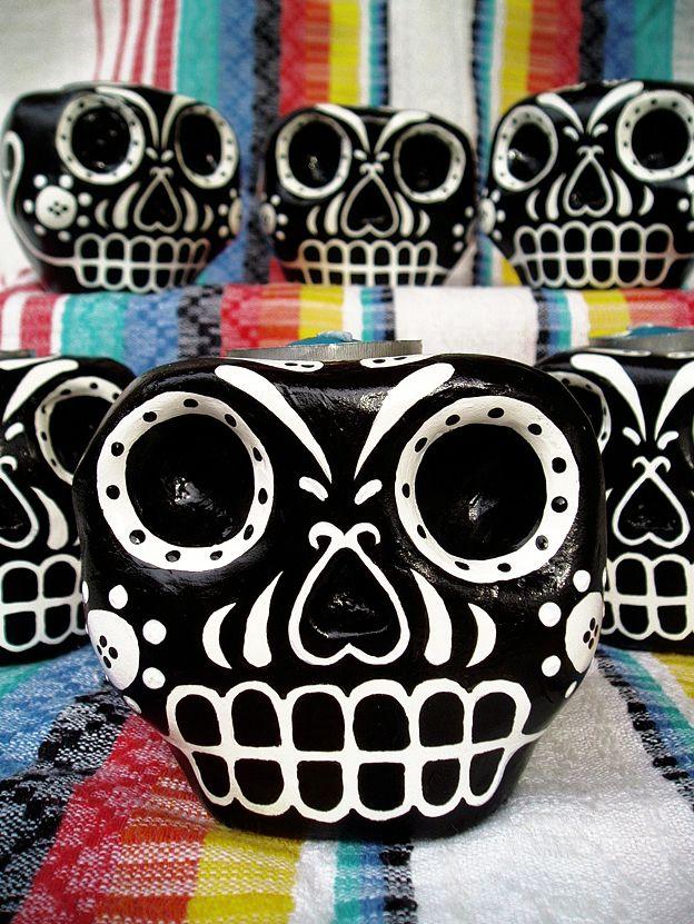 Calaveras de papel maché/handmade paper mache skulls.