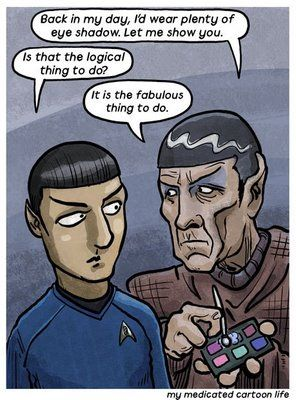Every time I see classic! Star Trek, I have to wonder why all the men are wearing eye makeup. O.o