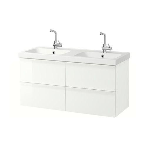 GODMORGON / ODENSVIK Kast voor wastafel met 4 lades - hoogglans wit - IKEA