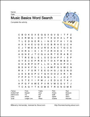 Free Music Worksheets - Wordsearch, Crossword Puzzles, Coloring Sheets, Music Vocabulary, and more