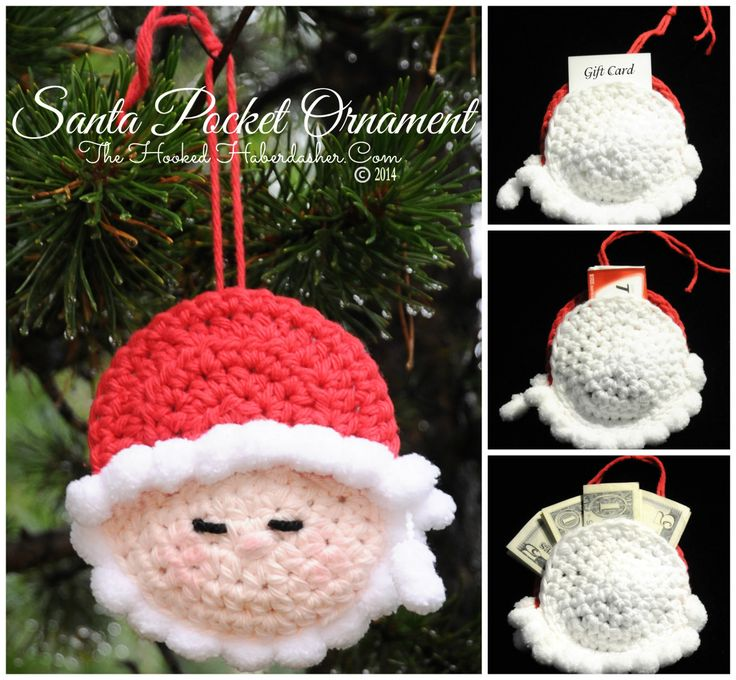 Crochet Christmas Santa Pocket Surprise Ornament Free Pattern