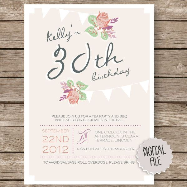 Personalised Birthday Party Invitation - Tea Party Rose bunting pink peach #gardenPartyInvitation tea party rose peach bunting Hens Invitation Hens Invite Hen Party Vintage Party Birthday invitation 30th birthday hens party Garden Party floral design 16.00 USD LauraNextDoor