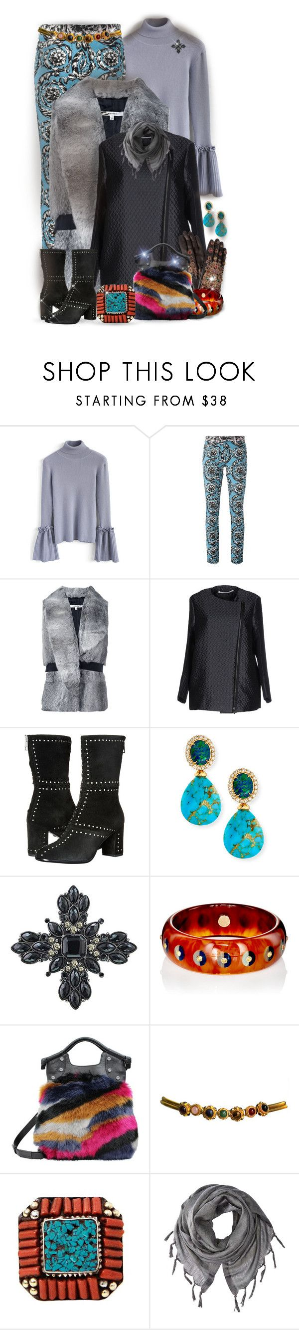 """Baroque Russian Winter *Outfit Only*"" by jcmp ❤ liked on Polyvore featuring Chicwish, Versace, Carven, Schumacher, Just Cavalli, Rina Limor, 1928, Mark Davis, Foley + Corinna and Judith Leiber"