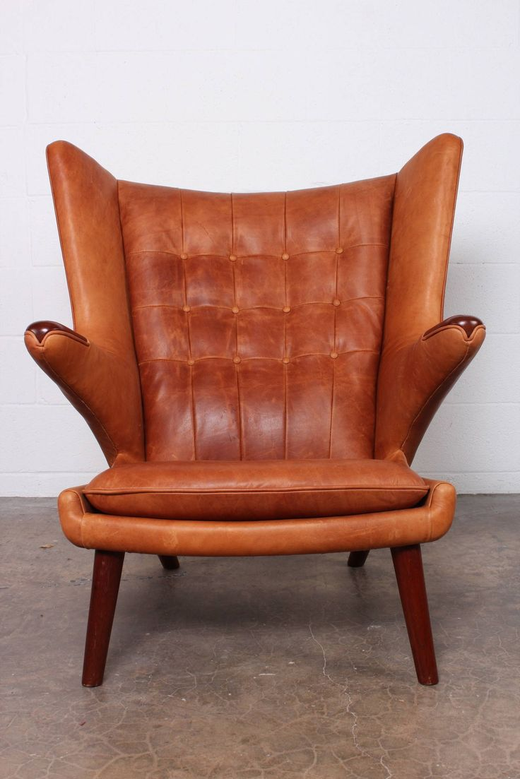 Leather Papa Bear Chair And Ottoman By Hans Wegner Be