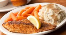 Cracker Barrel...Spicy Grilled Catfish with homemade mashed potatoes and gravy!