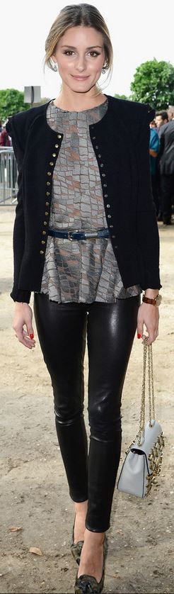 Olivia Palermo: Jacket – Nina Ricci  Shirt – Elie Saab  Shoes – Gianvito Rossi  Belt – Whistles  Shoes – Chloe