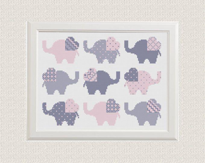 dwars steek patroon Elephant Set van 9 dier sampler kruissteek modern PDF Pattern Threads