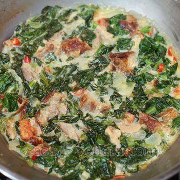 Lechon Kawali (Crispy Pork Belly) and Kai-lan (Chinese Broccoli) in Coconut Milk