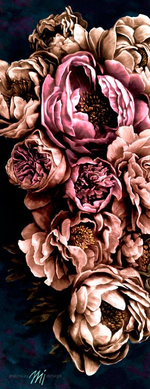 Peonies #flower #painting  #design for #wallpapers and #mural prints (30000x17000px)