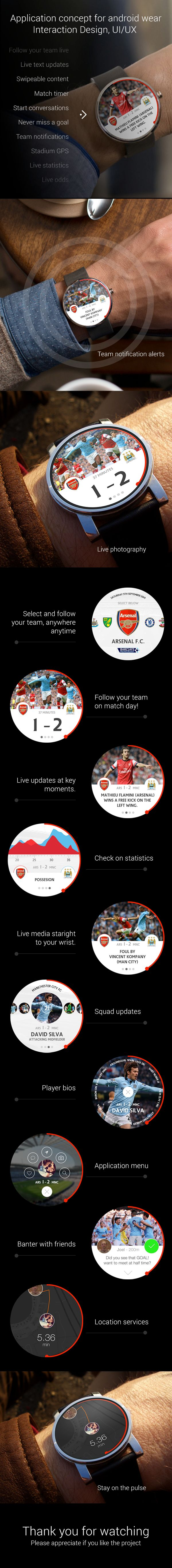 Football Soccer Application concept for android wear by David Hampshire, via Behance