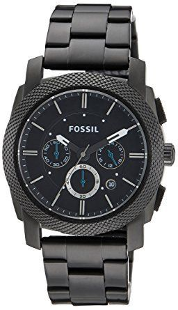 Fossil Men's FS4552 Machine Black Stainless Steel Chronograph Watch: Fossil: Watches