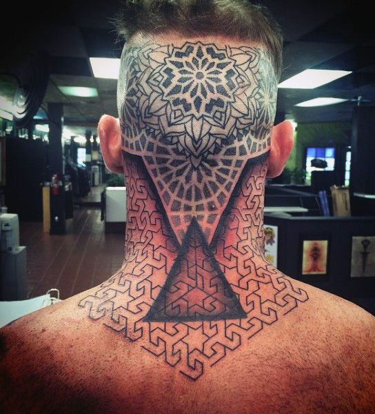 Back Of Head And Neck Toroids Sacred Geometry Tattoo For Men