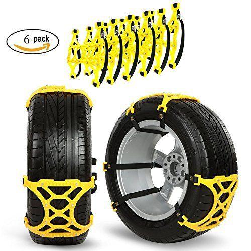 Chaînes à neige pour voiture/camion/SUV, Gogolo Lot de 6Chaînes de pneu antidérapante réglable antidérapant de roue d'urgence Sloution…