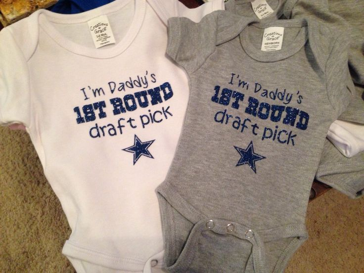 A personal favorite from my Etsy shop https://www.etsy.com/listing/212049893/dallas-cowboys-glitter-onesie-daddys-1st