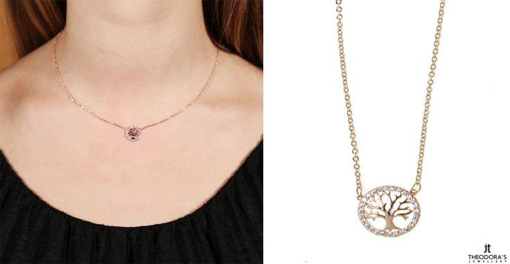 Κολιέ από ροζ επιχρυσωμένο ατσάλι και μενταγιόν Δέντρο της Ζωής με λευκά κρύσταλλα. Rose gold plated stainless steel Tree of Life necklace with white crystals.