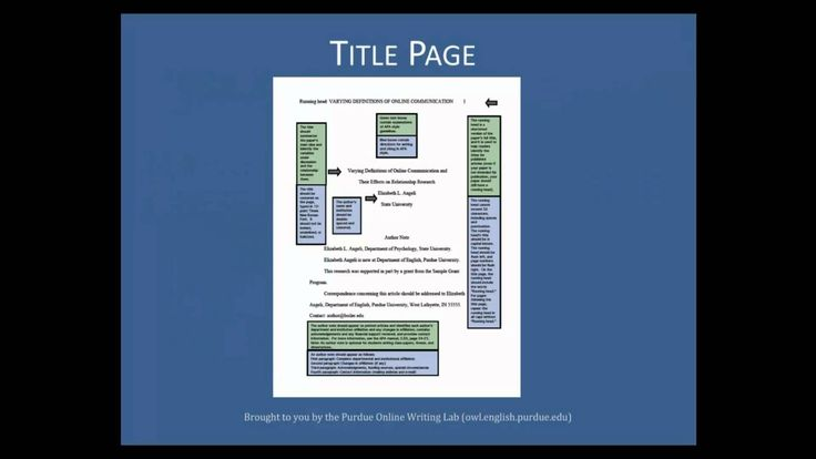 This vidcast discusses how to APA formatting - the Basics.  by OWLPurdue