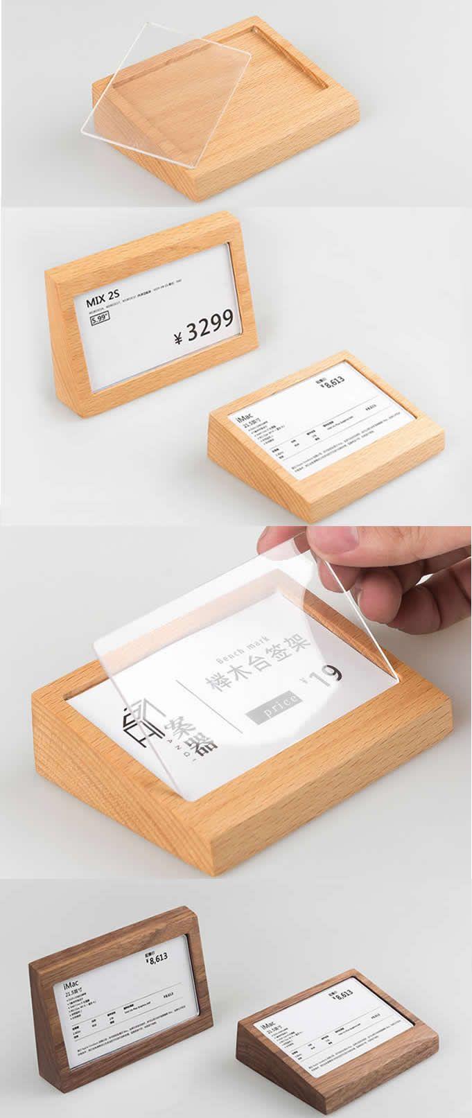 Wooden Wood Desk Business Card Holder Case Rack Desktop Display