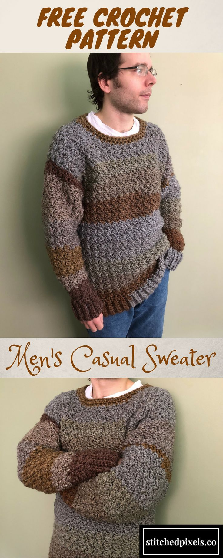The Men's Casual Sweater is a perfect first sweater project for any crocheter. I have included dozens of photos to help beginners and experienced crocheters alike. The bulky yarn works up quickly, and you could complete yours in as little as 8 hours (or e