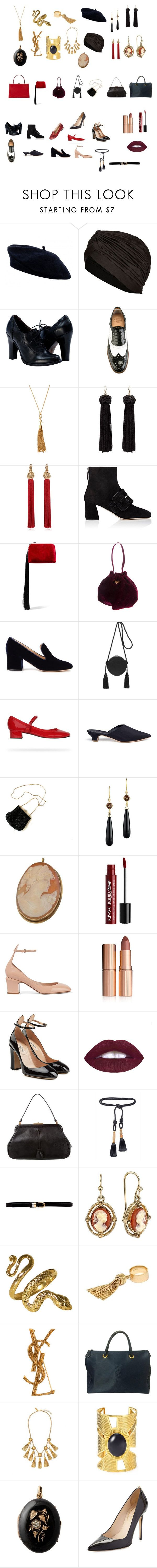 """moi accessories"" by whoisdada on Polyvore featuring moda, Topshop, Church's, Yves Saint Laurent, Miu Miu, The Row, Prada, Gianvito Rossi, Hillier Bartley e Mansur Gavriel"