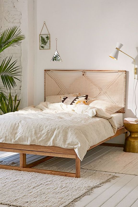 Bohemian Woven Headboard And Bedding From Urban Outfitters