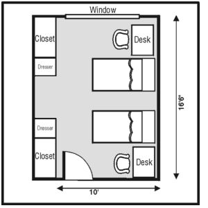 My general dorm room layout. well defined space for us.