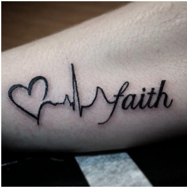 Corazón, Electrocardiograma y Frase: Faith - Tatuajes para Mujeres. Encuentra esta muchas ideas mas de Tattoos. Miles de imágenes y fotos día a día. Seguinos en Facebook.com/TatuajesParaMujeres!