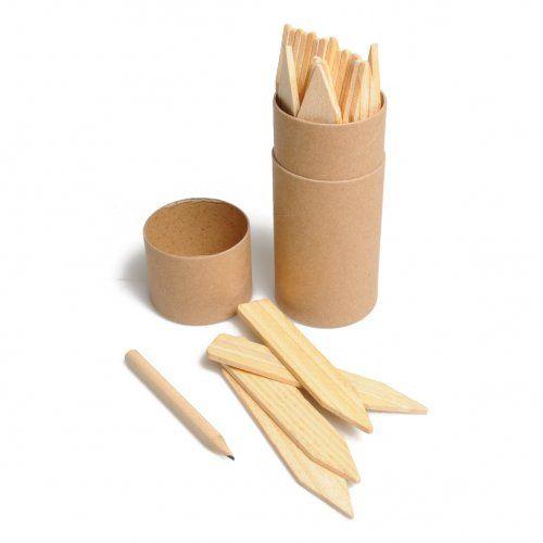 Plantetiketten en potloodje, koker met 24 etiketten