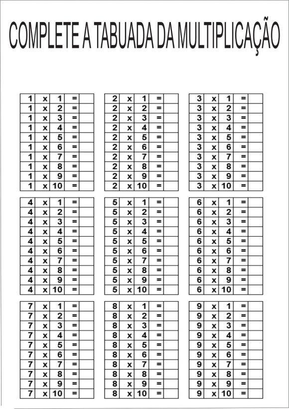 Tabuada De Multiplicacao Do 0 Ao 9 Para Imprimir Tabuada