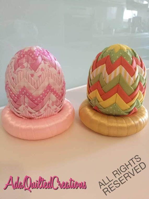 Fabric eggs,Easter decorative eggs, folded fabric easter egg, quilted Easter egg, Easter decor, artichoke easter egg, shabby chic, pastels