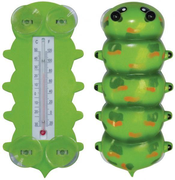 Hernyó alakú műanyag hőmérő, tapadó koronggal, -30 és + 50 fok között mér.