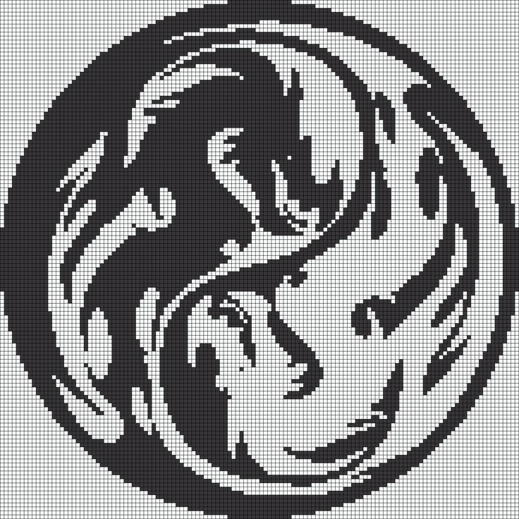 Yin Yang Dragon Perler Bead Pattern