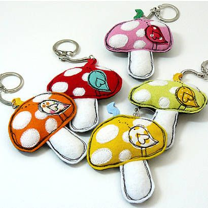 'Toadstool' Key Ring  by Little Singing Bird