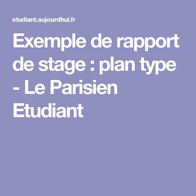 Exemple de rapport de stage : plan type - Le Parisien Etudiant
