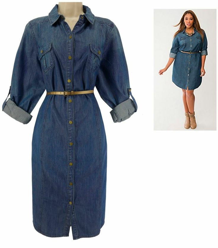 Plus Size Blue Jean Shirt Dress - Prom Dresses Cheap