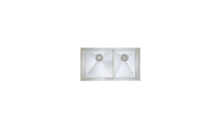 Blanco 515821 Precision Double Basin Stainless Steel Kitchen Sink with Zero Radi Satin Fixture Kitchen Sink Stainless Steel