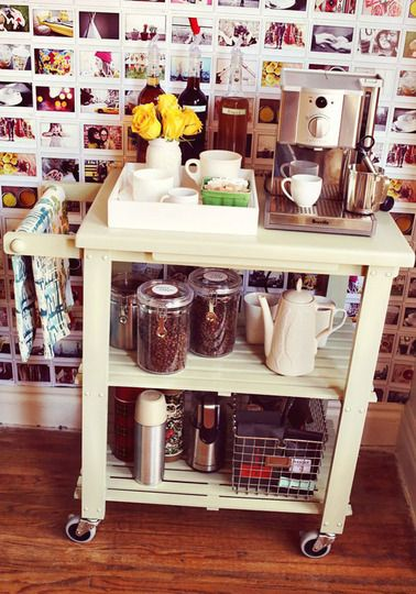 If you're short on counter space, why not turn the old idea of a bar cart into one that suits your particular needs? Elsie turned this old cart into a coffee/tea station, but you could just as easily use a rolling cart as a baking station or storage for oils, vinegars, spices, and herbs.