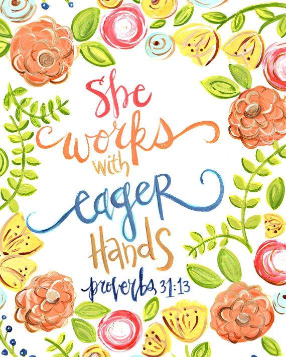 Proverbs 31. Mothers Day Art. Mothers Day Gift. Scripture Art. Bible Verse. Christian Art. Christian Gift. Fine Art Print. Art by Erin Leigh