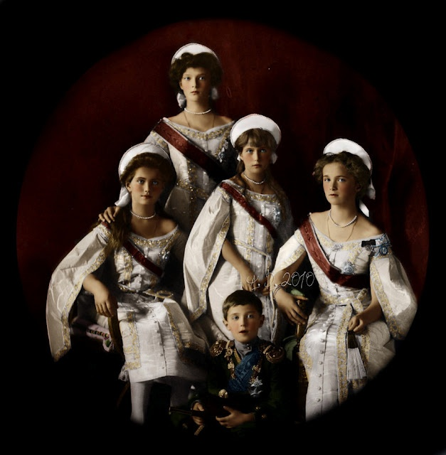 The Romanov Children in state attire (one of my personal favorite photographs of the Romanovs-BB).