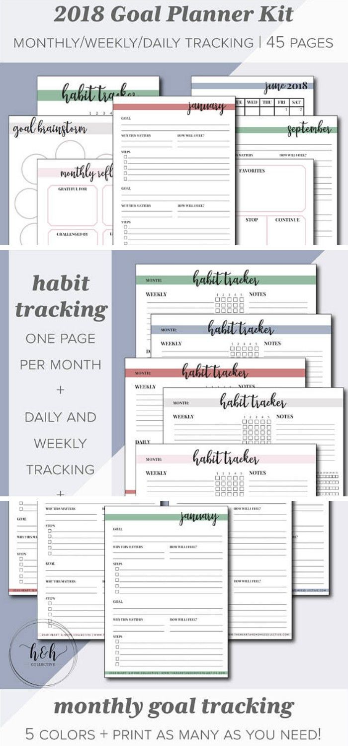 Are you ready to make 2018 your best year yet? Do you have big dreams that you're ready to put into action? Kick off the New Year with a new 2018 Goal Planner! Set up your planner goals with this printable productivity planner.  The Goal Planner 2018 Kit includes: >5 Goal Brainstorming Sheets > 12 Monthly Goal Pages > 12 Monthly Calendar Pages > 5 Weekly + Daily Habit Tracker Pages >> Monthly Reflection Pages >> 4 Motivational Art Prints  Planner pages come with 5 color options #planner #ad