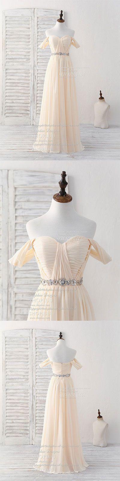 Champagne chiffon off shoulder long prom dress bridesmaid dress