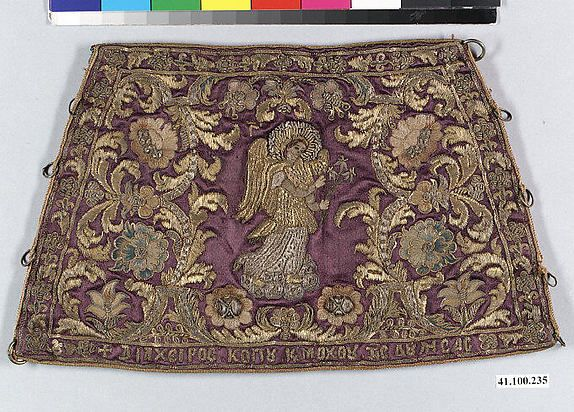 Liturgical cuff Date: 17th–18th century Culture: Byzantine Medium: Silk and metal thread on silk Dimensions: 9 3/4 × 5 3/4 in. (24.8 × 14.6 cm) Classification: Textiles-Embroidered MET Museum
