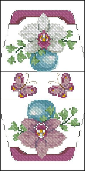 Cross-stitch Orchid & Butterflies Purse... no color chart available, just use pattern chart as your color guide.. or choose your own colors...