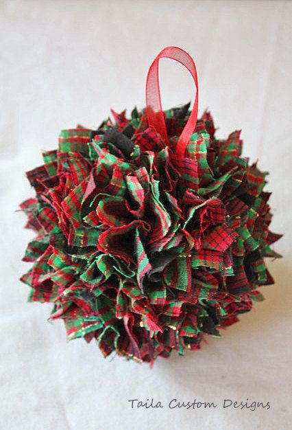 This festive and wonderful Christmas ornament is made of red plaid scrap fabric that has been covered over a foam ball. Description from etsy.com. I searched for this on bing.com/images