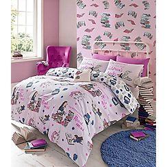 Roald Dahl - Kids' multicoloured Matilda 'Bookworm' duvet cover and pillow case set